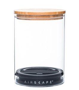 קופסת אחסון זכוכית עם מכסה במבוק לקפה 250 גרם - Airscape איירסקייפ