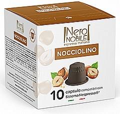 10 קפסולות תואם נספרסו שוקולד אגוזים neronobile cioccolato nicciolino